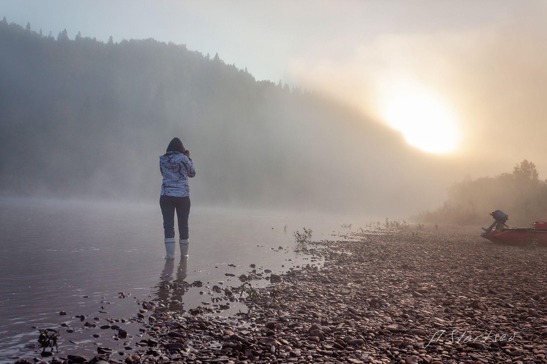 Осеннее туманное утро на реке река Вильва лес Урал Пермский_край пейзаж природа утро туман туризм турист рассвет осень