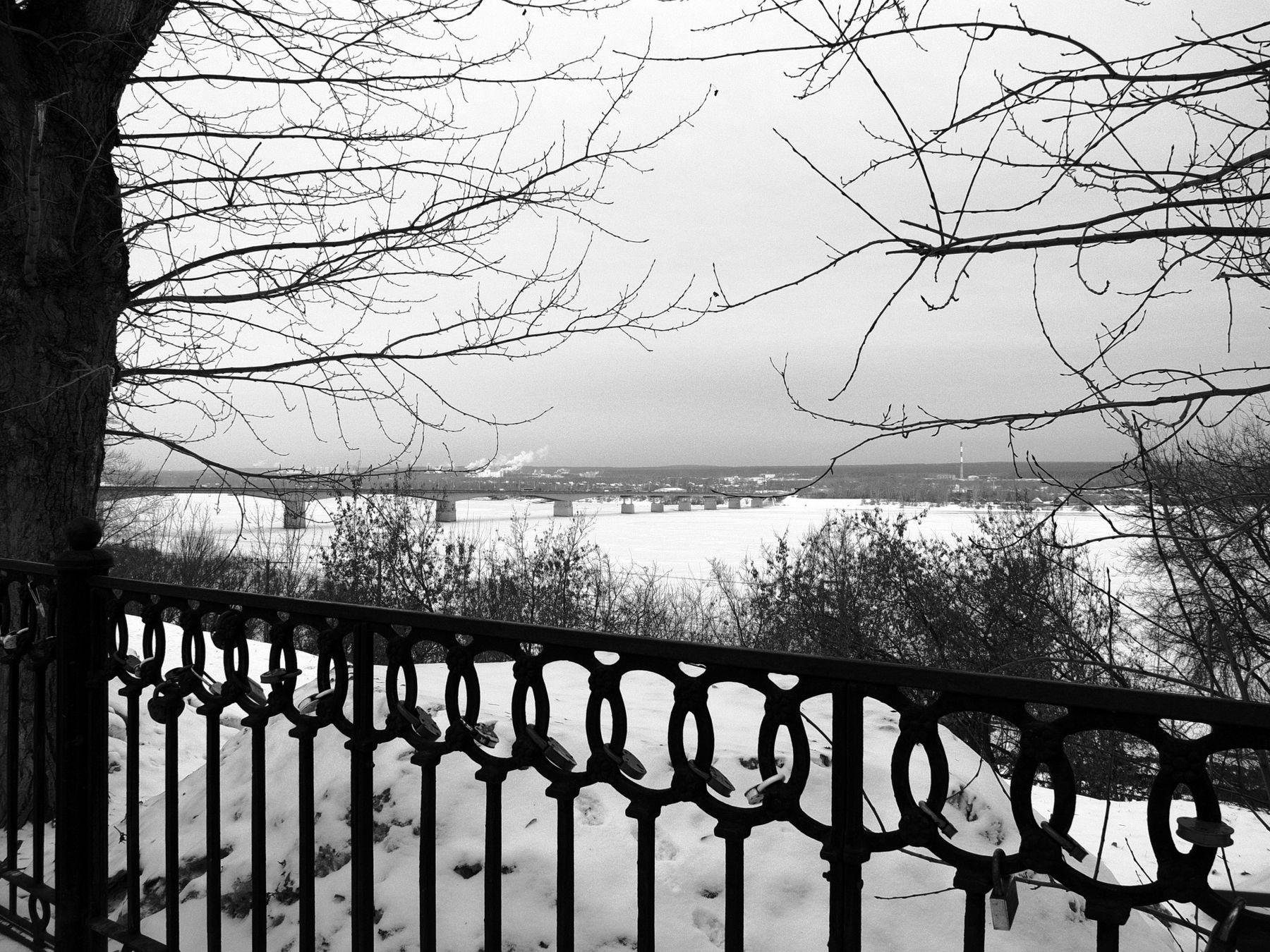 Вид на Каму город Пермь зима Кама Камский мост чугунная ограда ветки снег Шварц