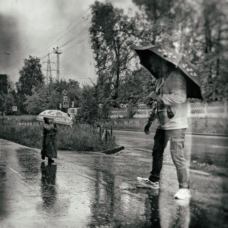 папа в дождь