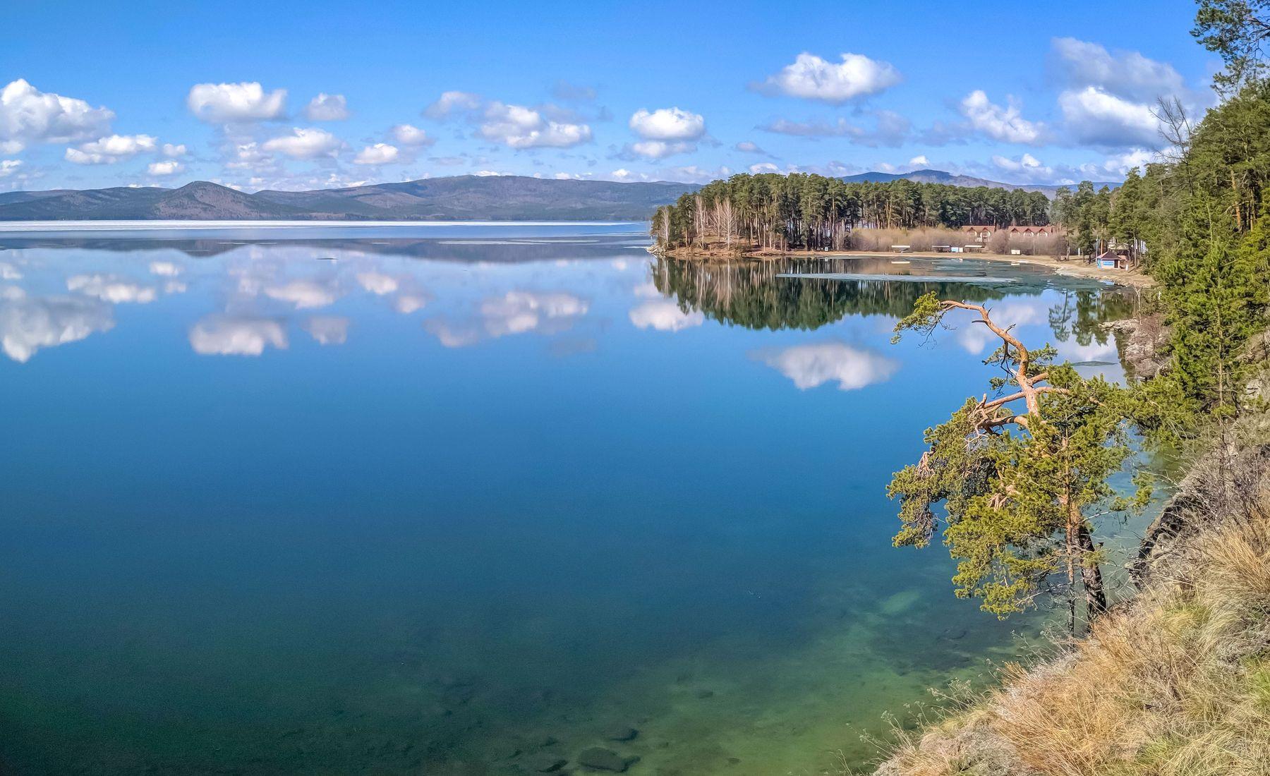 Начало Мая на озере Тургояк. (панорама) Южный Урал Миасс Тургояк природа лес весна Май