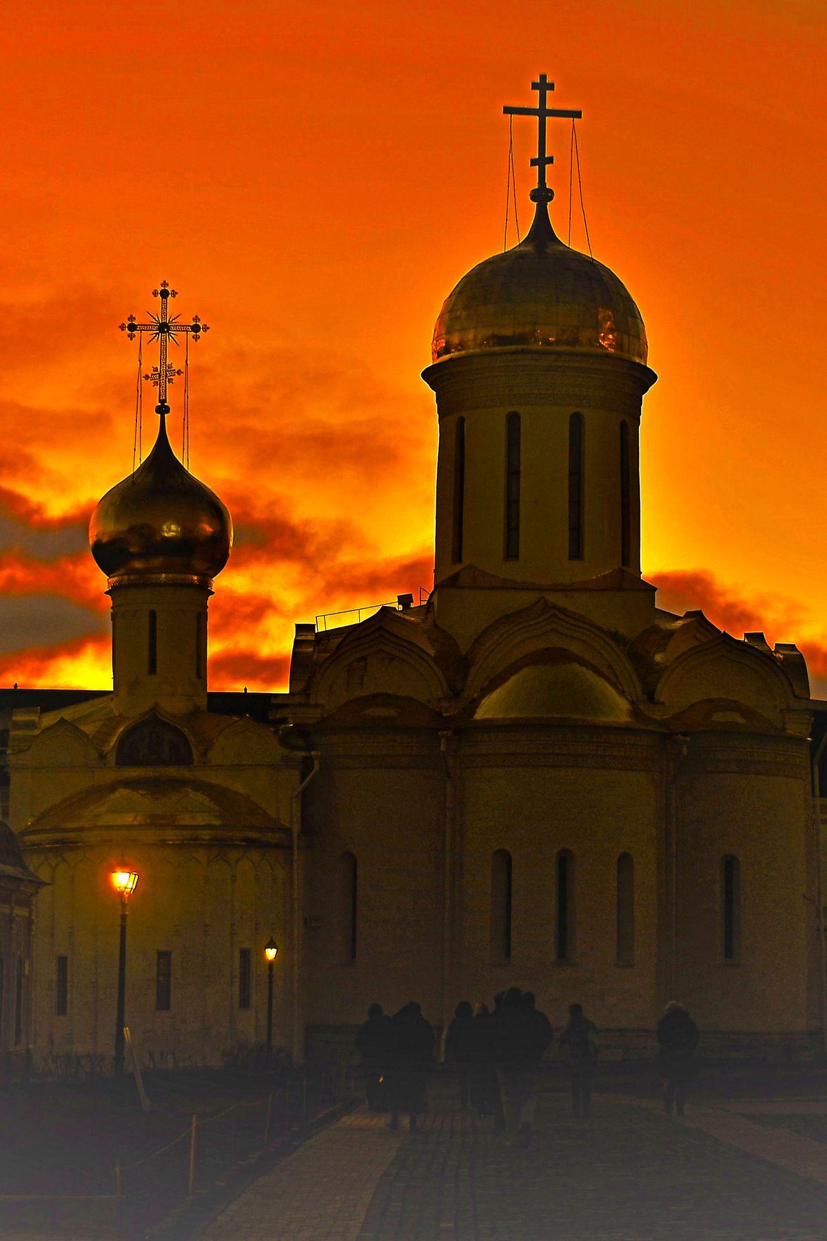 Закат... Сергиев Посад Троице-Сергиева Лавра Троицкий собор монастырь храм закат вечер