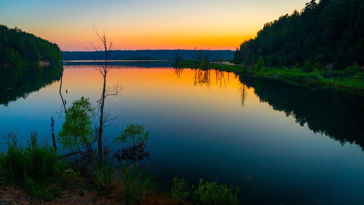 раннее утро рассвет отражение вода озеро река небо