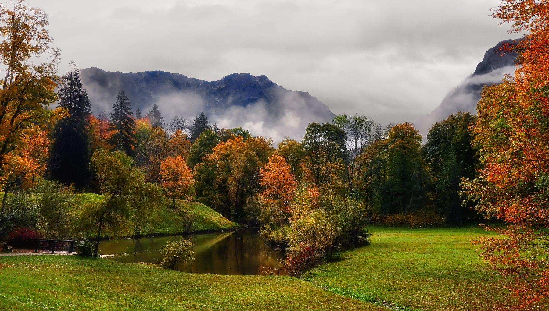 Осенний этюд Осень Германия Линдерхоф замок