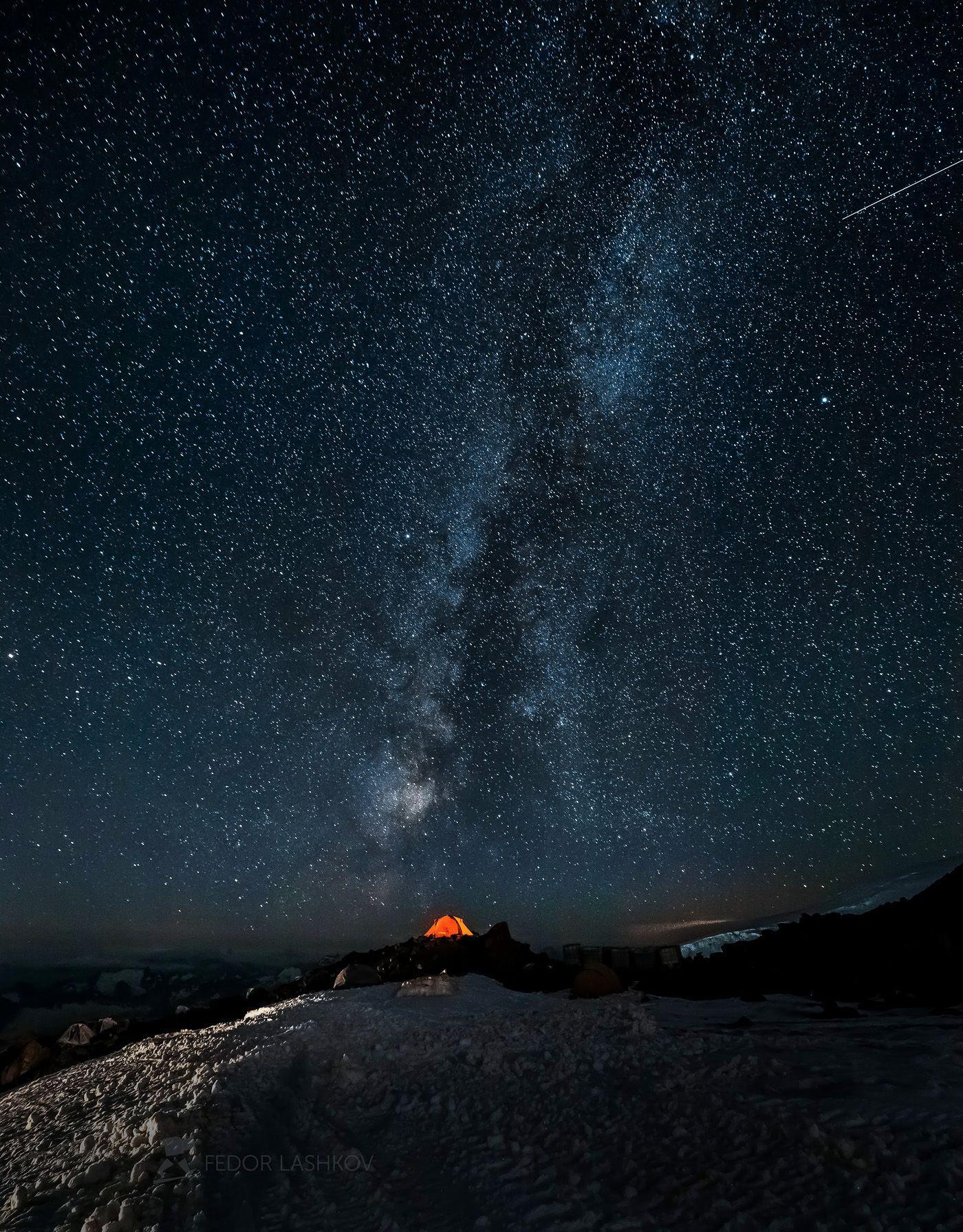 Наедине со звёздами Северный Кавказ Кабардино-Балкарская Терскол путешествие горы Национальный парк Приэльбрусье Эльбрус ночь ночное звёзды Млечный Путь палатка туризм поход