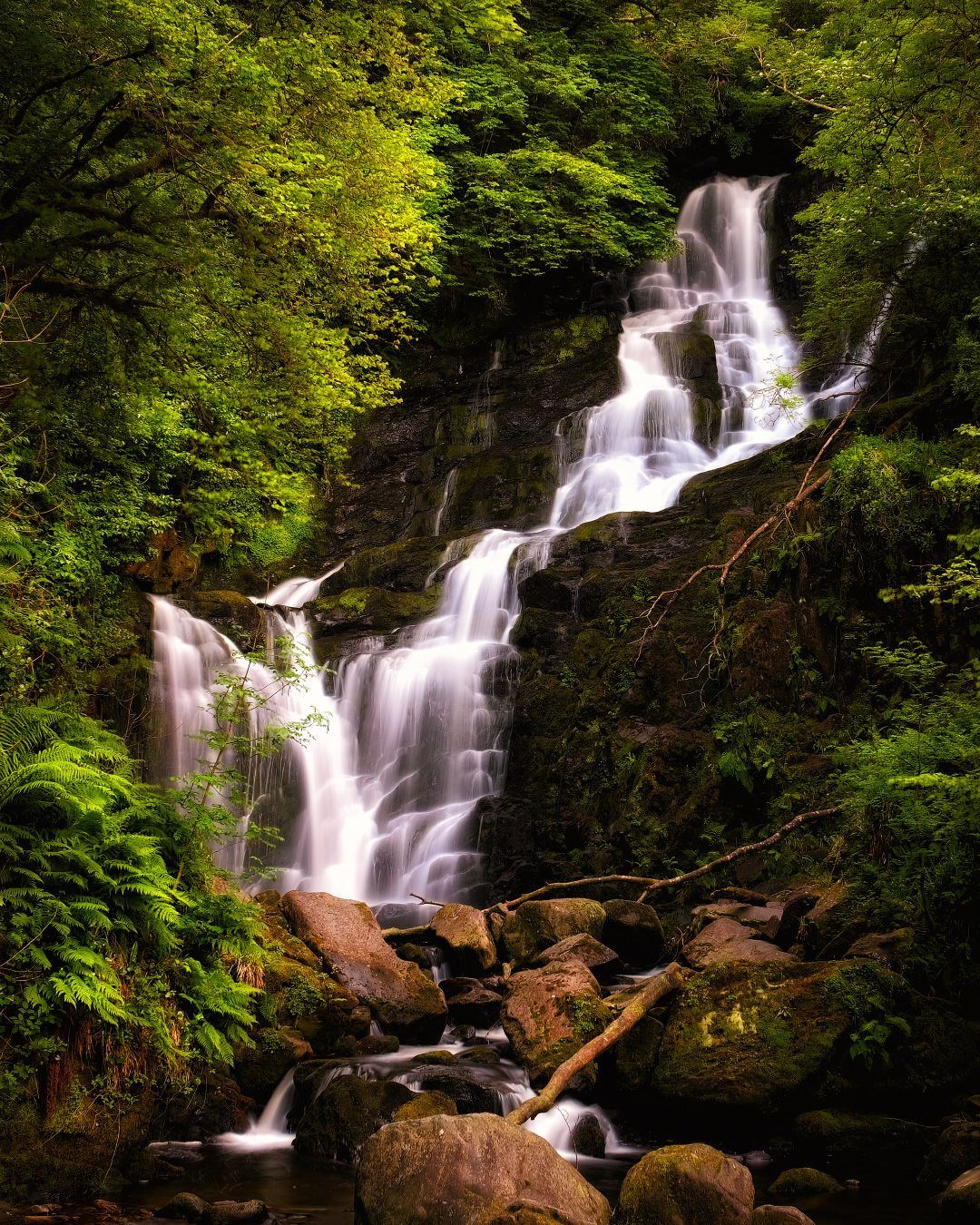 ...among the greens... ireland nature outdoors landscape long exposure water watrefall falling flow stream creek river rocks greens wood forest stones deep fairy tail mysterious scenic scenery picturesque awe wonderful breathtaking europe