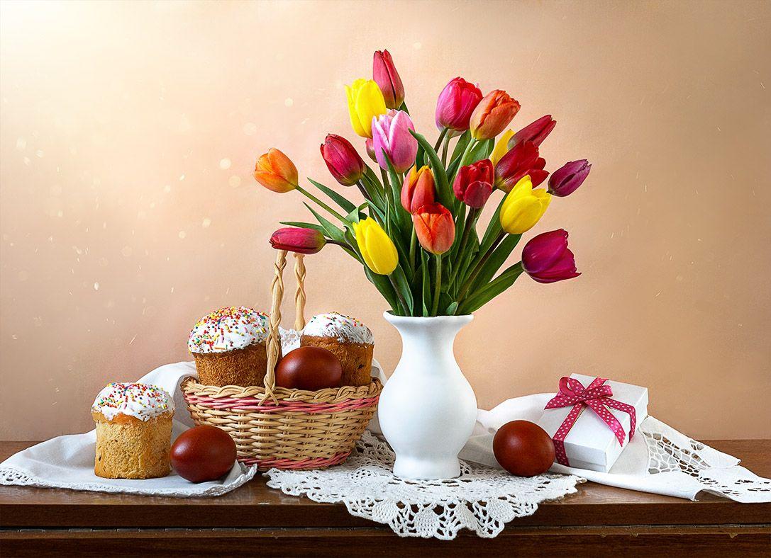 С праздником Светлой Пасхи! Тюльпаны пасха пасхальный кулич
