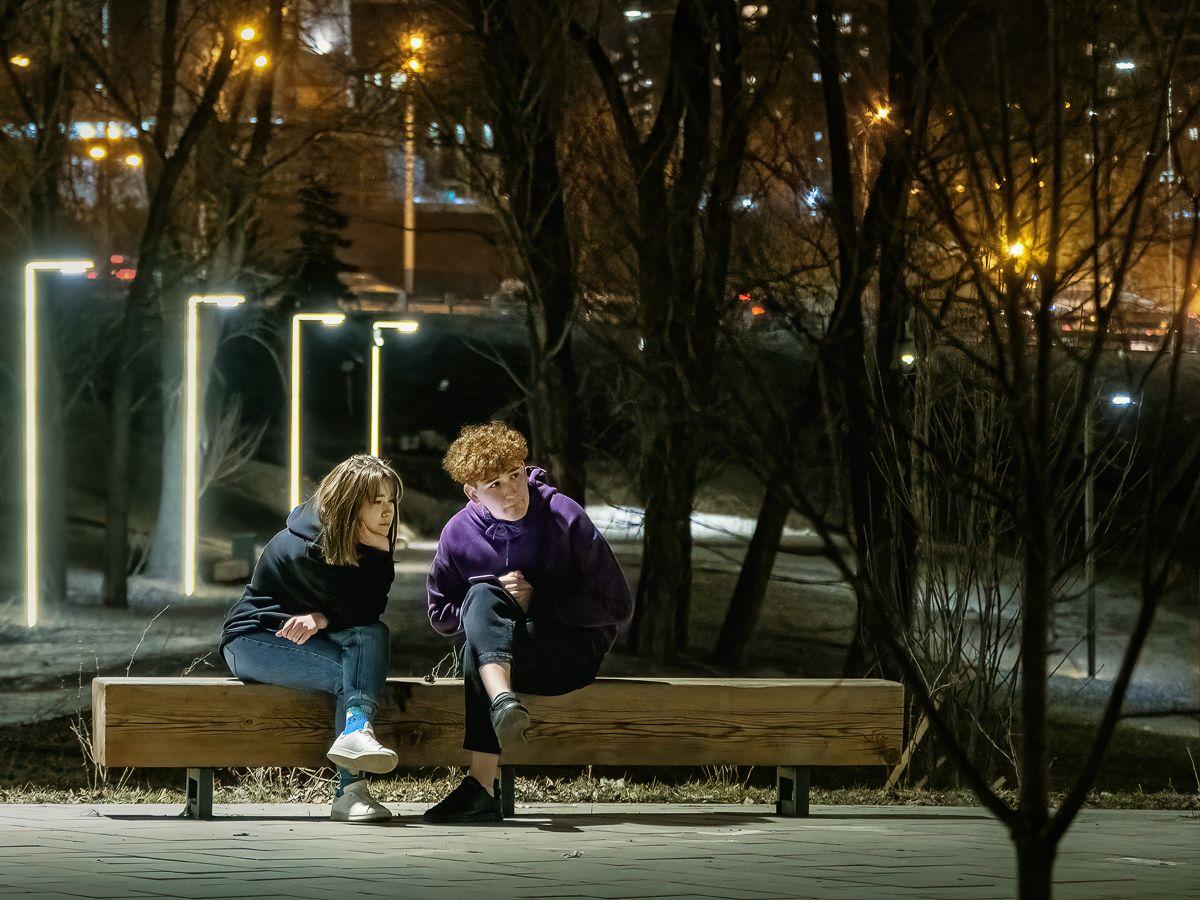 """""""Чу, слышен голос звонкий, Не это ли весна?"""" вечер огни города двое"""