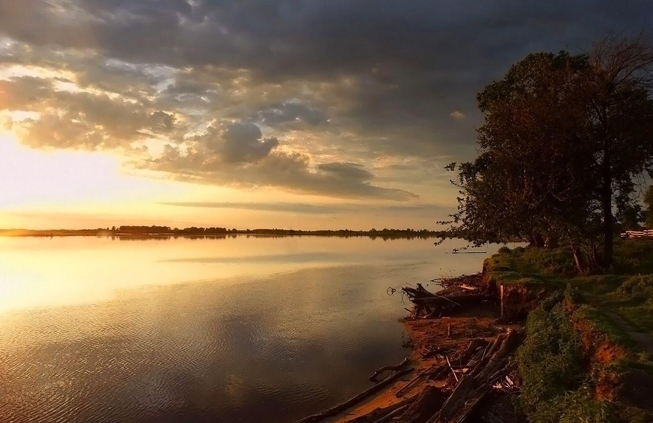 Обской вечер Сибирь природа река Обь пейзаж вечер