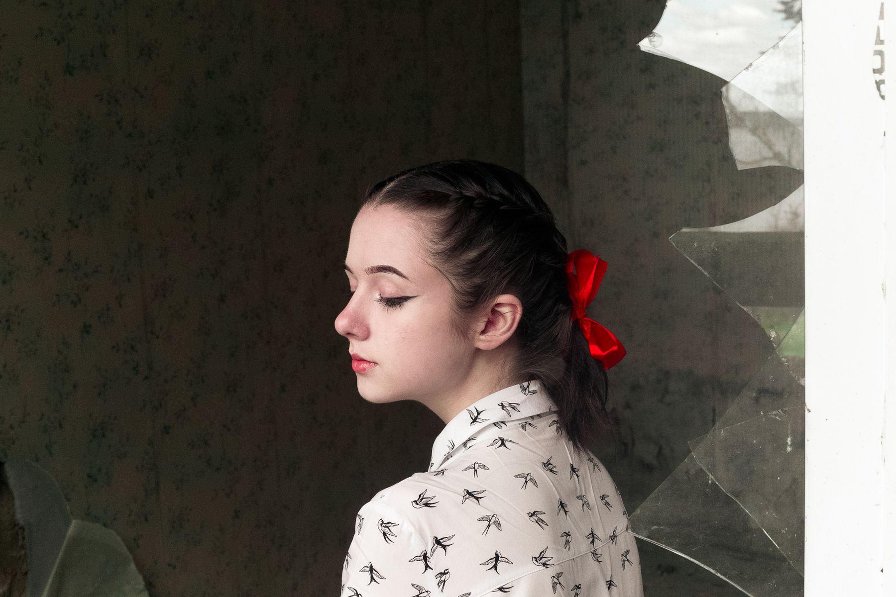 girl in red portrait