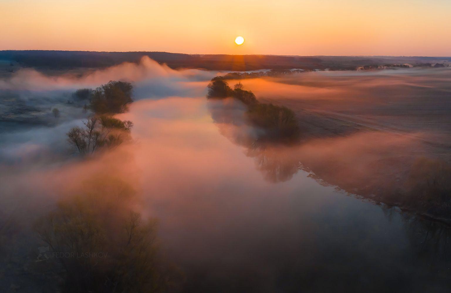 Весенний туман Лебедянский район Липецкая область река Красивая Меча весна апрель туманное квадрокоптер солнце туман