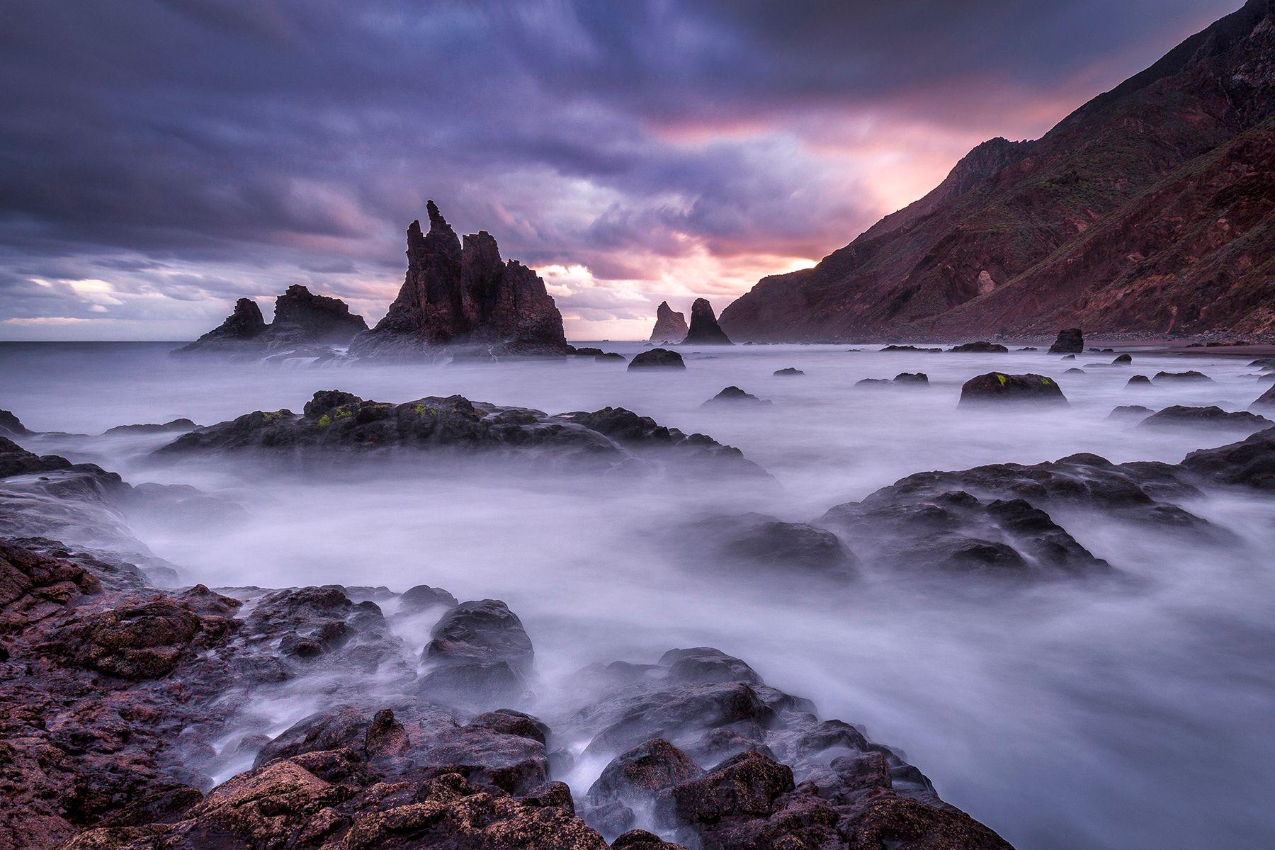 Приход нового дня Испания Тенерифе рассвет выдержка Бенихо океан скалы