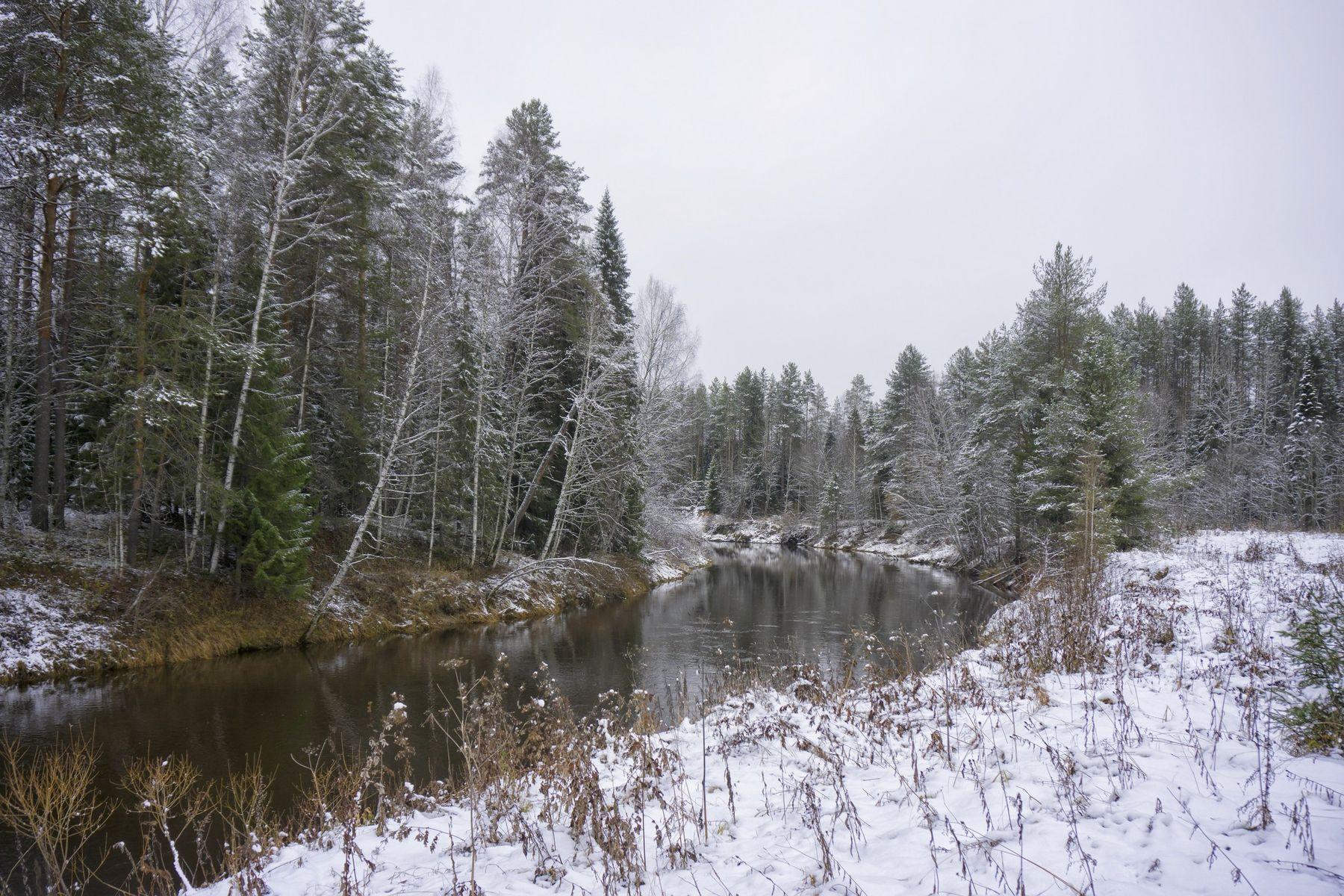 *** зима осень пейзаж снег река природа
