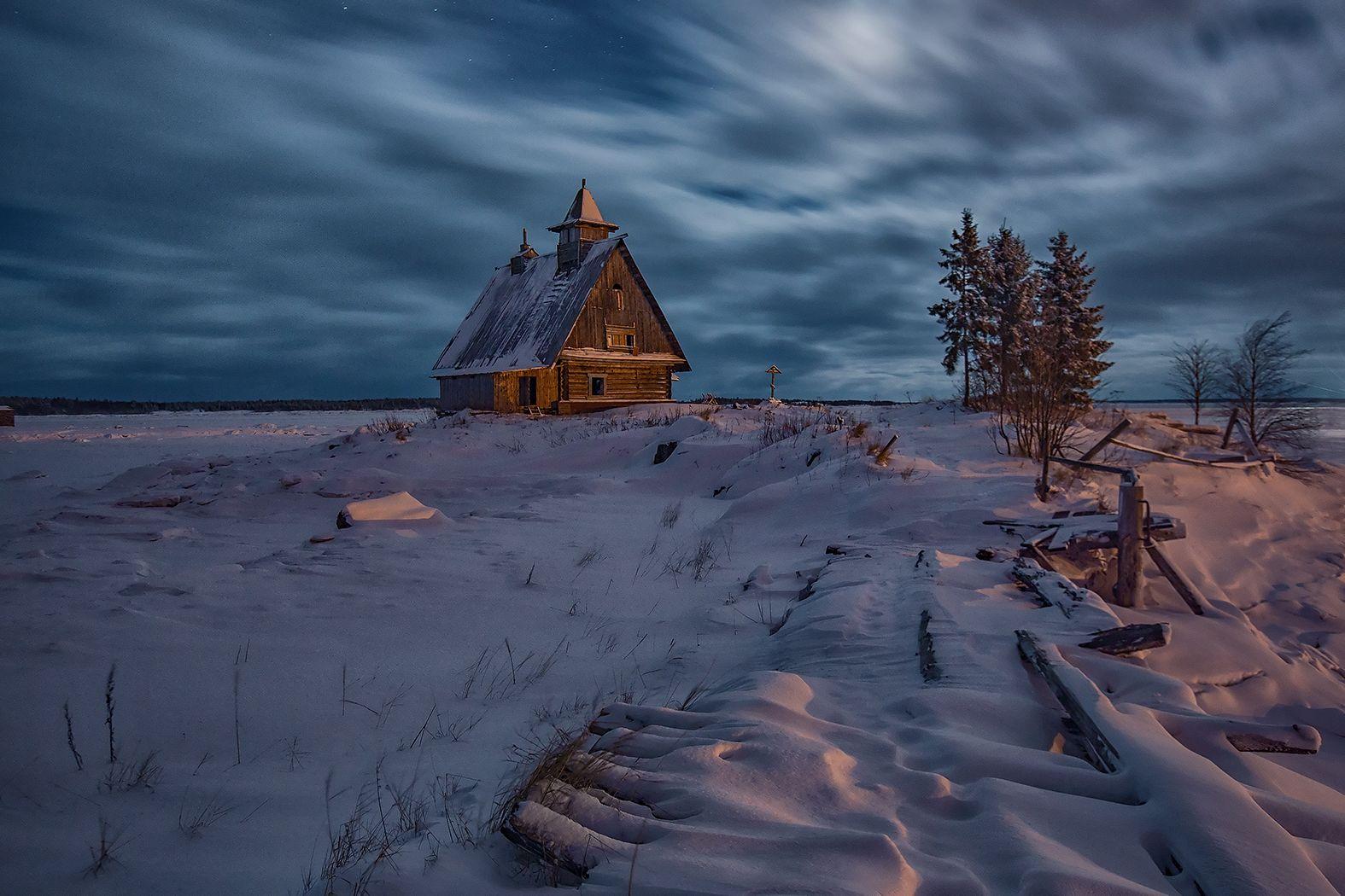 Рабочеостровск Остров берег Белое море зима