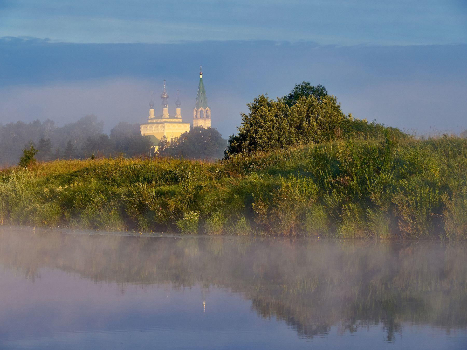 Утро в Дунилово лето утро река храм