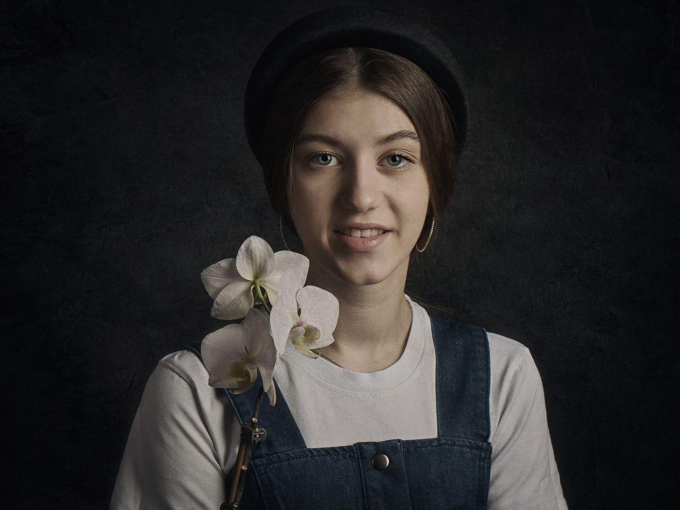 Девушка с цветком Девушка цветок гламур.вспышка домашняя студия