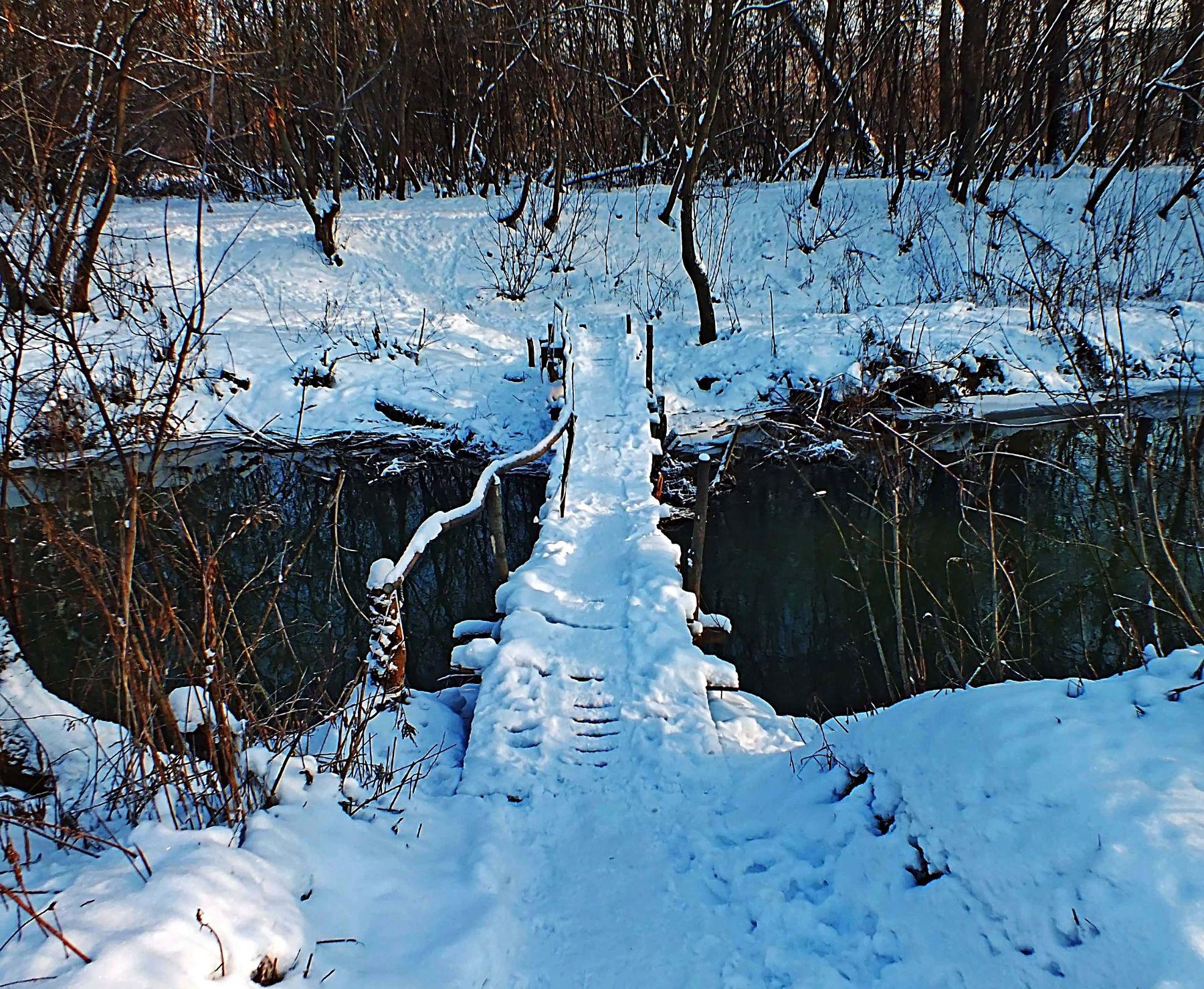 Мосток Тулица речка снег зима пейзаж