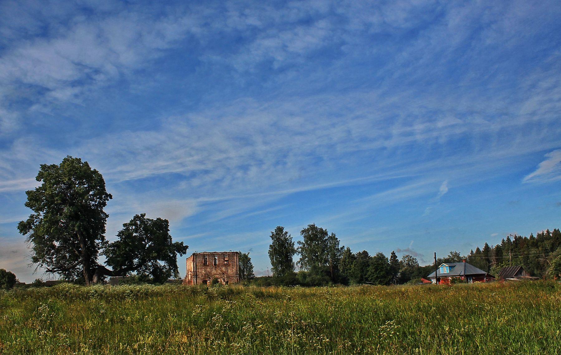 разрушенная временем деревня церковь дерево