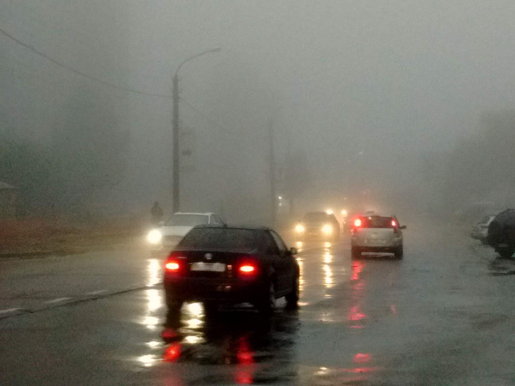*** туман дорога фары свет отражение