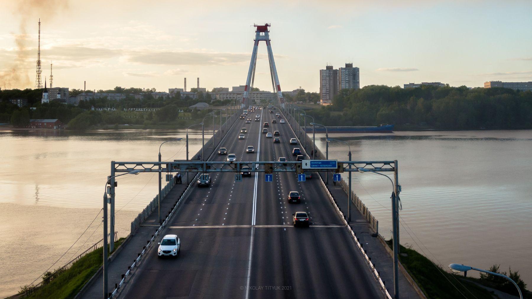 Череповец cherepovets bridge river water sky landscape cars traffic