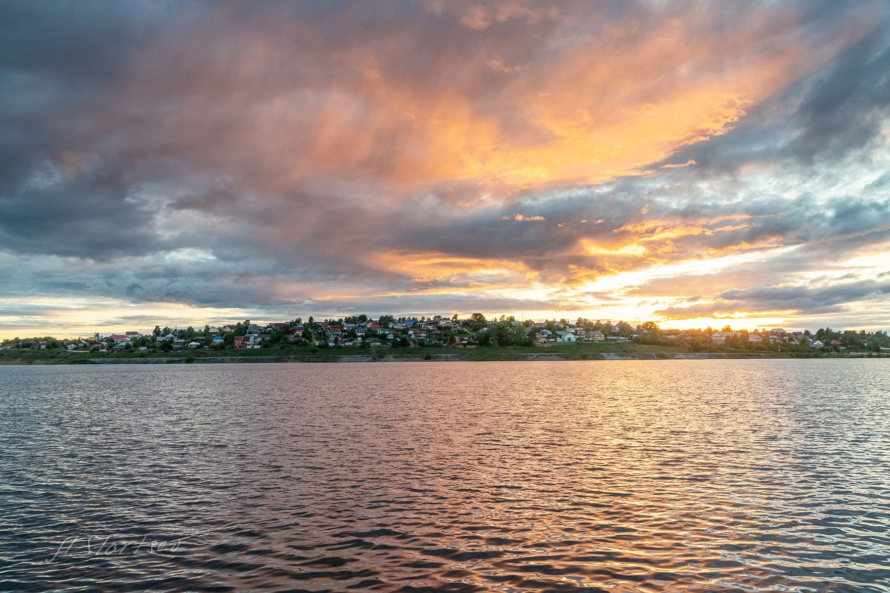 Закат на пруду пруд вода отражение вечер закат пейзаж Пермский_край Лысьва небо