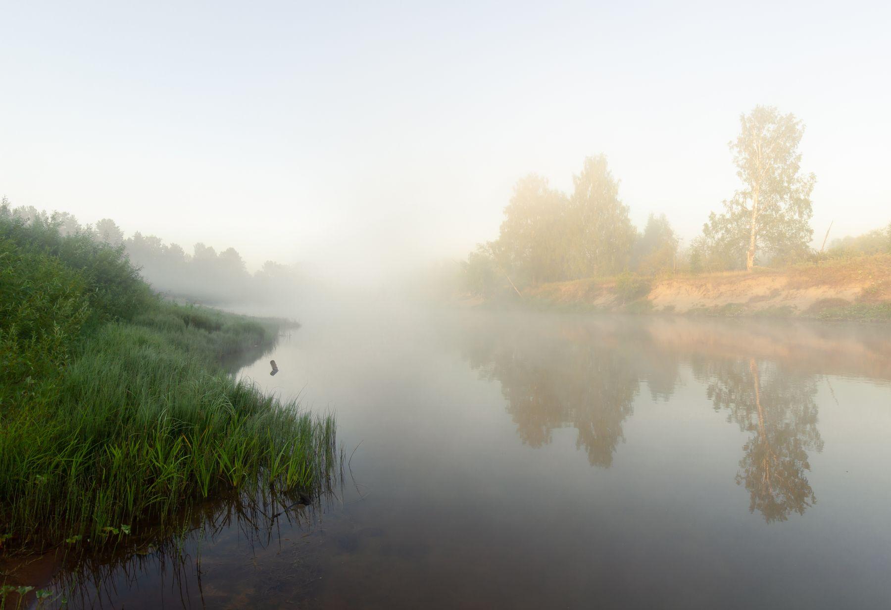 Золотой рассвет туман утро река рассвет