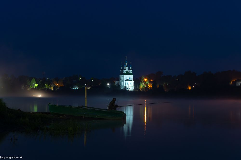 летняя полночь с видом на Тотьму..... вечер тотьма сухона река