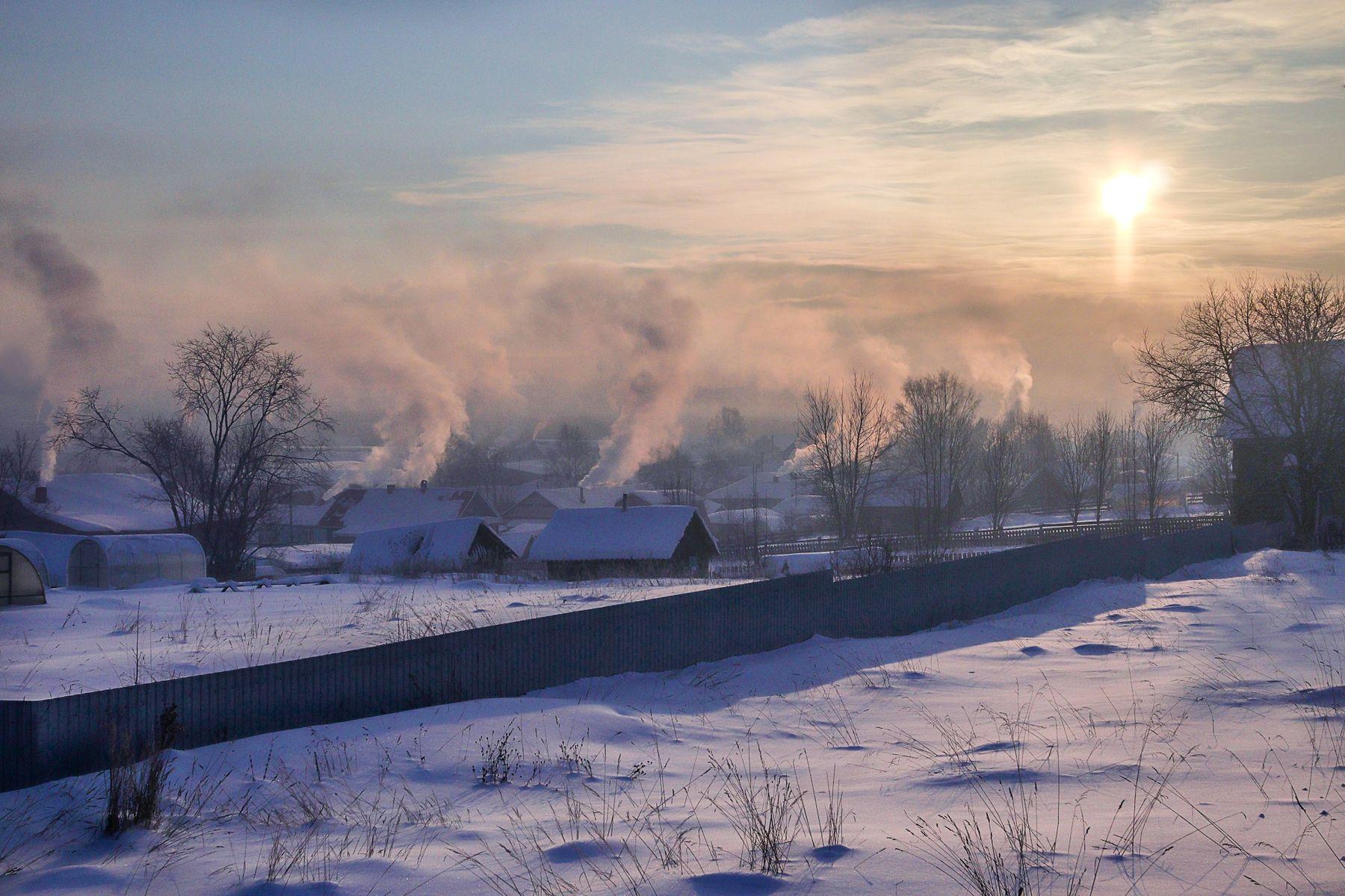 Морозное утро в селе. Зима Мороз Село