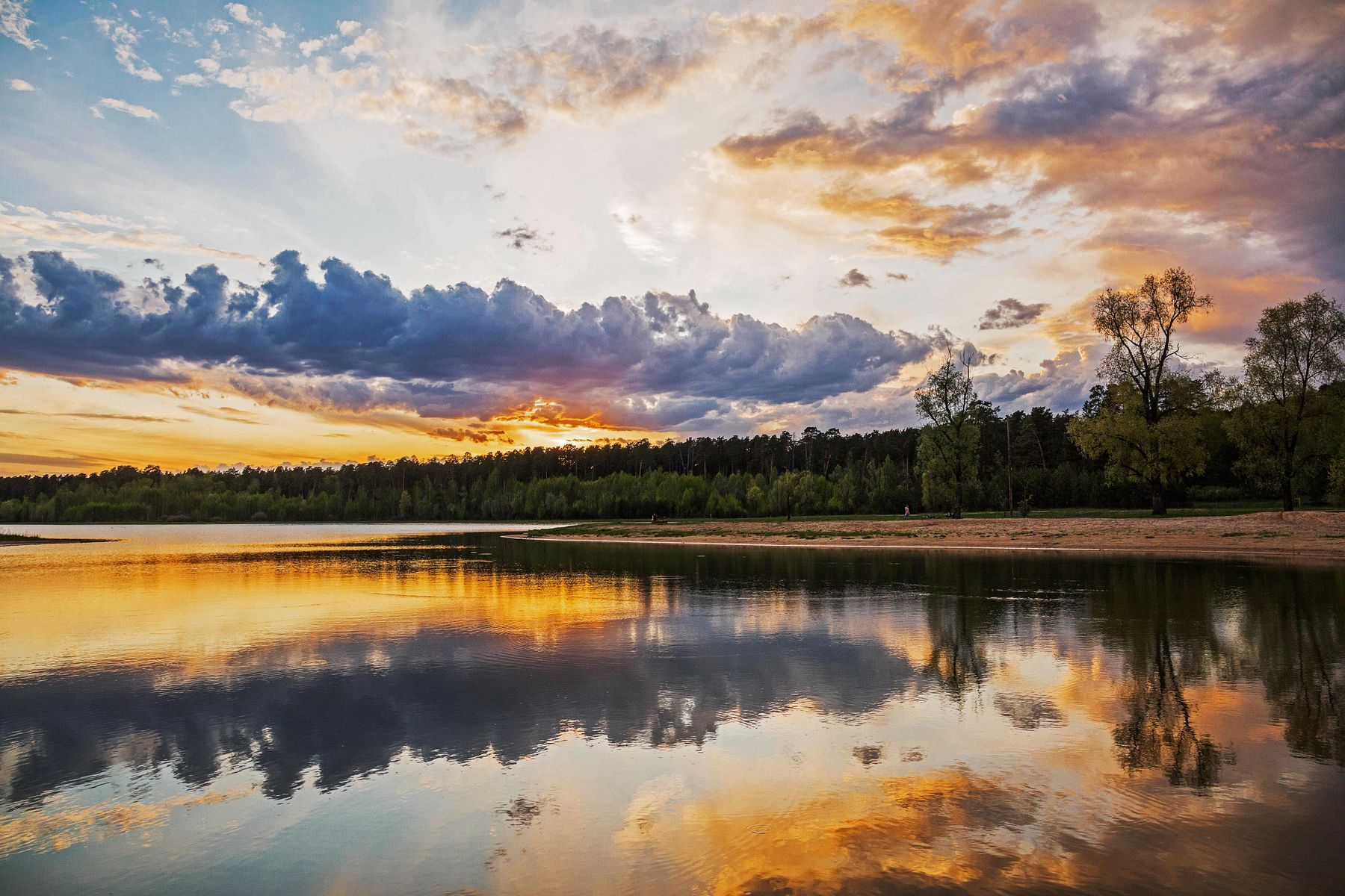 *** природа пейзаж весна вечер закат татарстан озеро большое лебяжье облака